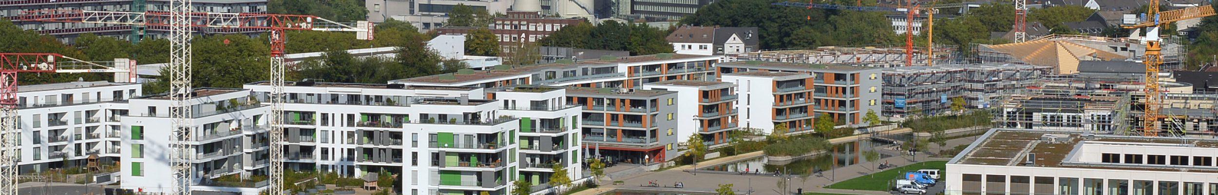 Grüne Mitte Essen, Universitätsviertel. Foto: Peter Prengel, 07. 10. 2013